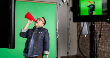 The actor Nico Santos films a reaction pack of GIFs at Giphy Studios in downtown Los Angeles. Credit Emily Berl for The New York Times