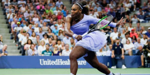 Serena Williams runs to hit a return to Carina Witthoeft during day three of the 2018 U.S. Open women's singles match in New York on Aug. 29, 2018.Eduardo Munoz Alvarez / AFP - Getty Images
